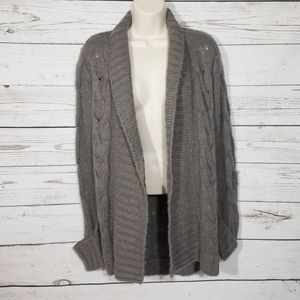 RD Style Taupe Chunky Cable Knit Long Cardigan